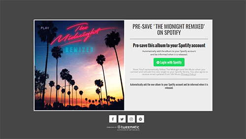 'The Midnight Remixed' Presave on Spotify Campaign